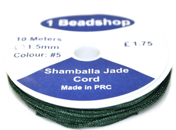 Dark green 5 - 10 Metres x 1.5mm Jade Cord JSC-10-1.5-05 / S.B